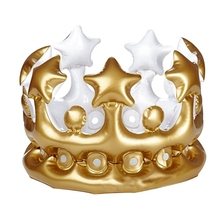 цены Inflatable Children's Crown Cap Gold Party Kids Children Crown PVC Balloon Birthday Hat Inflatable Hat Exquisite Party Decor