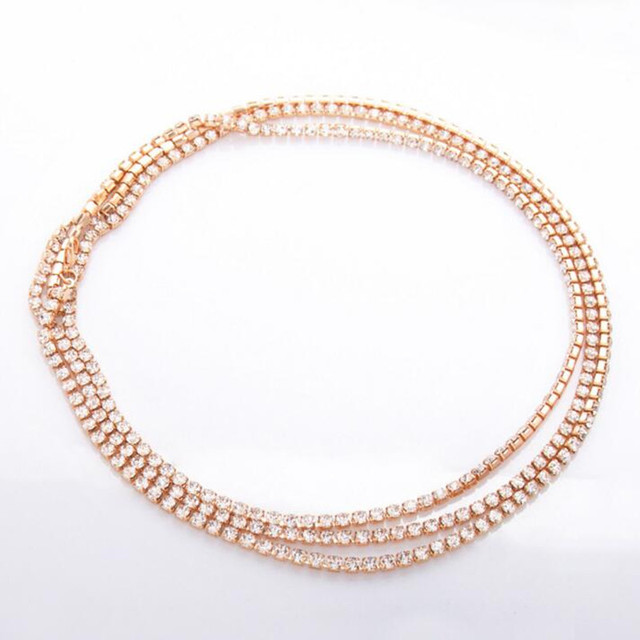 3 layer Crystal Rhinestone Choker Necklace Simple Elegant gold