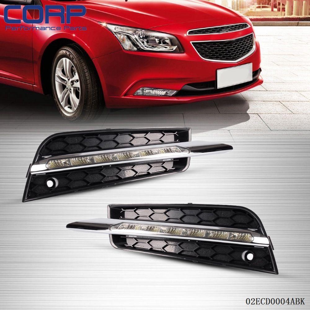 цена на 1Pair LED DRL Daytime Running Fog Light Driving Lamp For Chevrolet Cruze 11-12