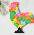 New wooden toy Animal Cartoon Color Cock  26 piece English letters and digital cognitive Wooden Jigsaw Puzzle Free shipping