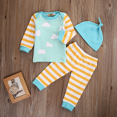 3pcs Infant Boy Girl Stripe Clound Newborn Boy Clothing