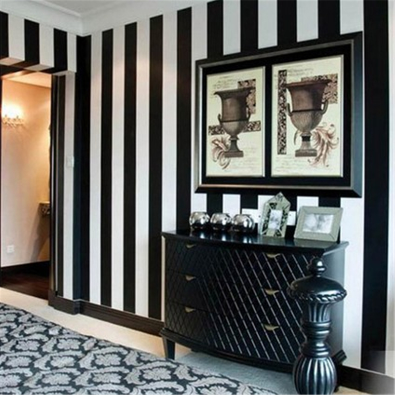 Beibehang Modern Simple Black And White Vertical Stripes Wallpaper Explosion Section Wide Lines