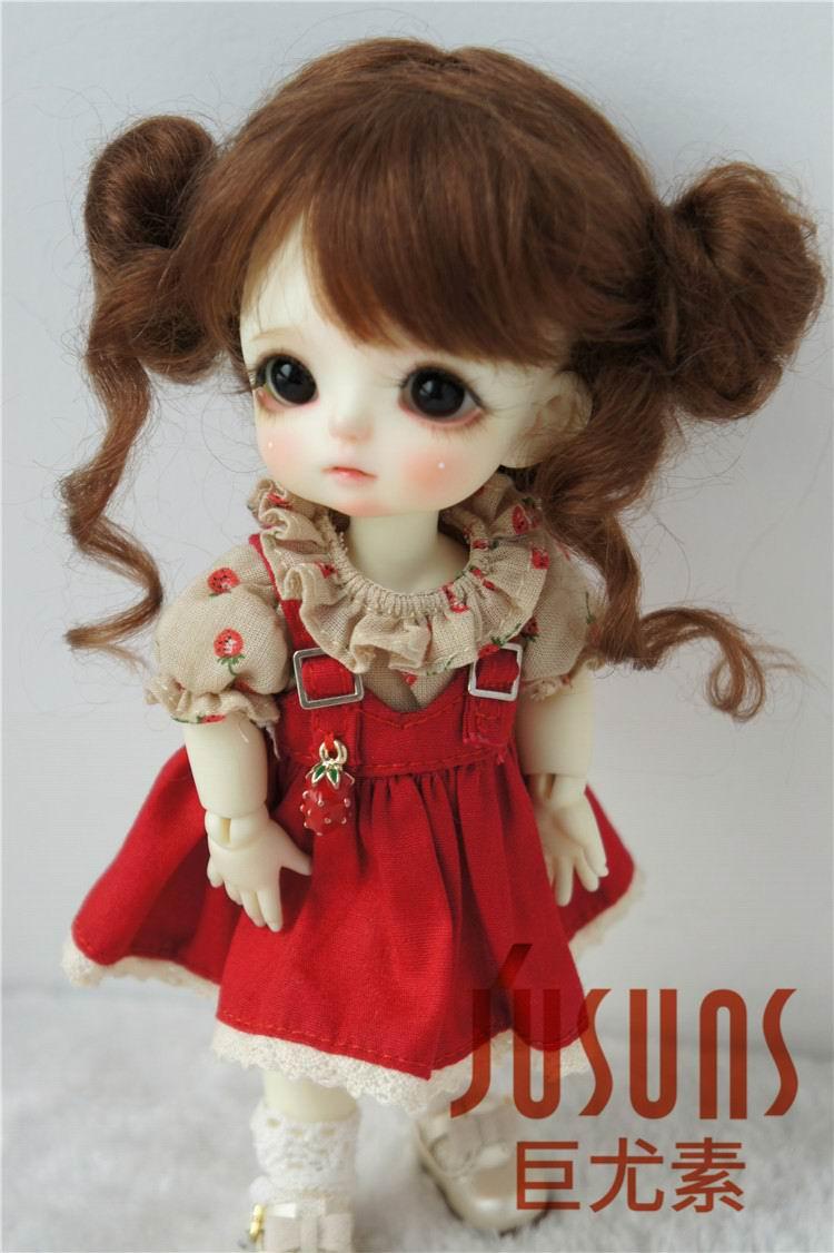 JD406 1/8 5-6 дюймов, парик для куклы BJD, кукольный парик, прекрасные мохеровые парики, Детские два пони, парик для маленькой куклы - Цвет: Light Brown M11