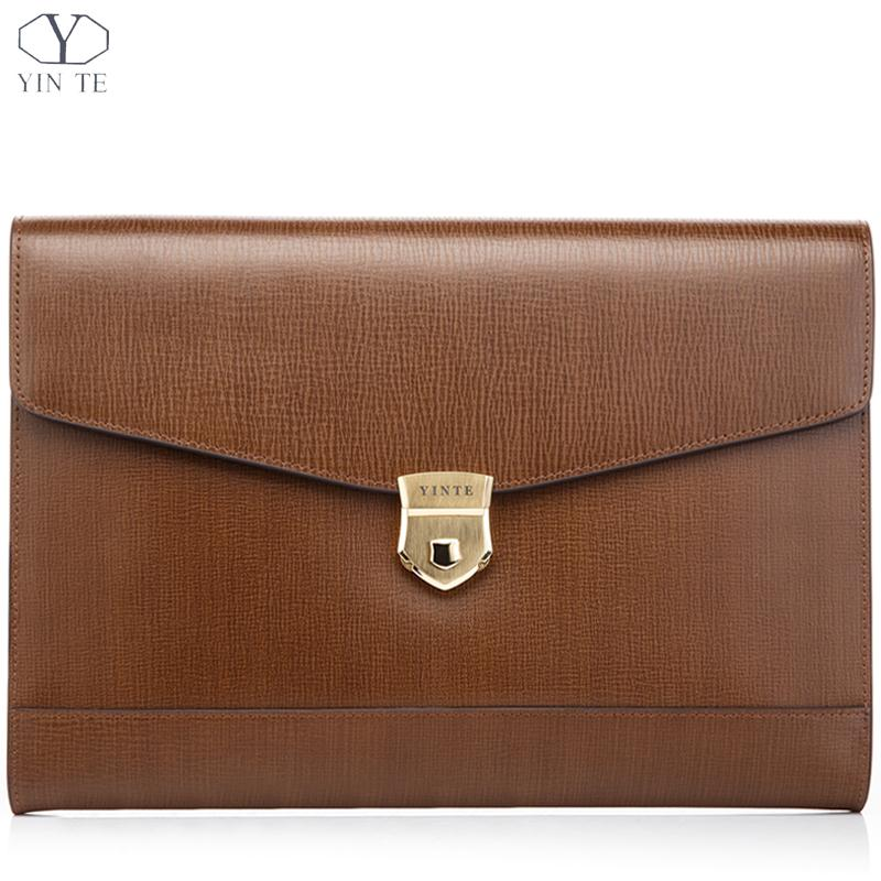 YINTE Unisex A4 Brown Leather Folder Bag Men Business Management Contract Password Lock Document Bag Manager File Folder T8570-3 dark blue zippered faux leather handle conference file contract bag container