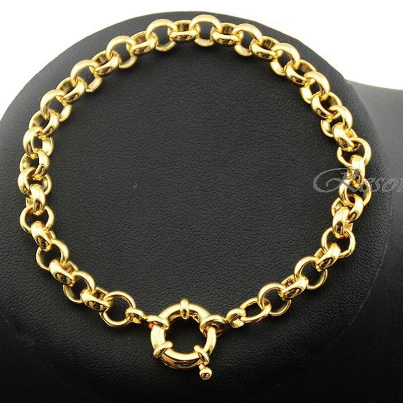 1 Stks 6mm Geel Hand Armbanden Man Vrouwen Gouden Kleur Armband Rolo Chain Sieraden E518 Bevorder De Productie Van Lichaamsvloeistof En Speeksel