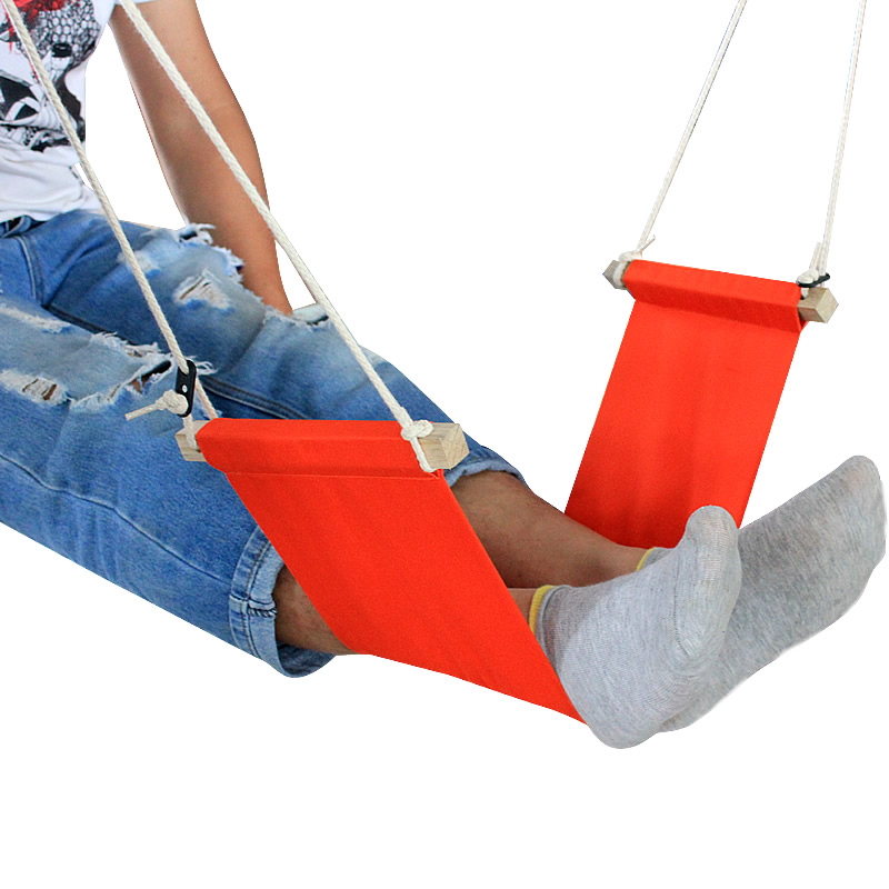Hanging Foot Hammock On The Indoor Table To Relax The Legs