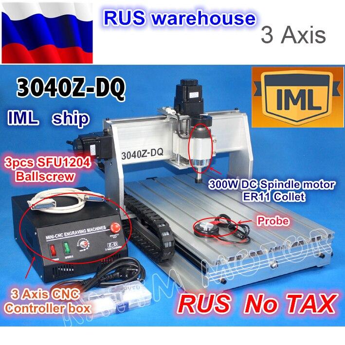 RU корабль Desktop 3 оси 3040Z-DQ 300 Вт шпинделя ШВП ЧПУ гравер/гравировка Сверление резки 220 В/110 В