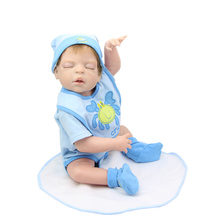 22″ Reborn Dolls Full Body Silicone Vinyl Doll Baby Boy Collectible Newborn Baby Toys As a Gift for Children Birthday