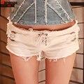 2017 Verão Nova Moda Casual Low-cintura das Mulheres Shorts Jeans Buraco Sexy Boate Senhoras Calções Cinto de cor Sólida Calções finos