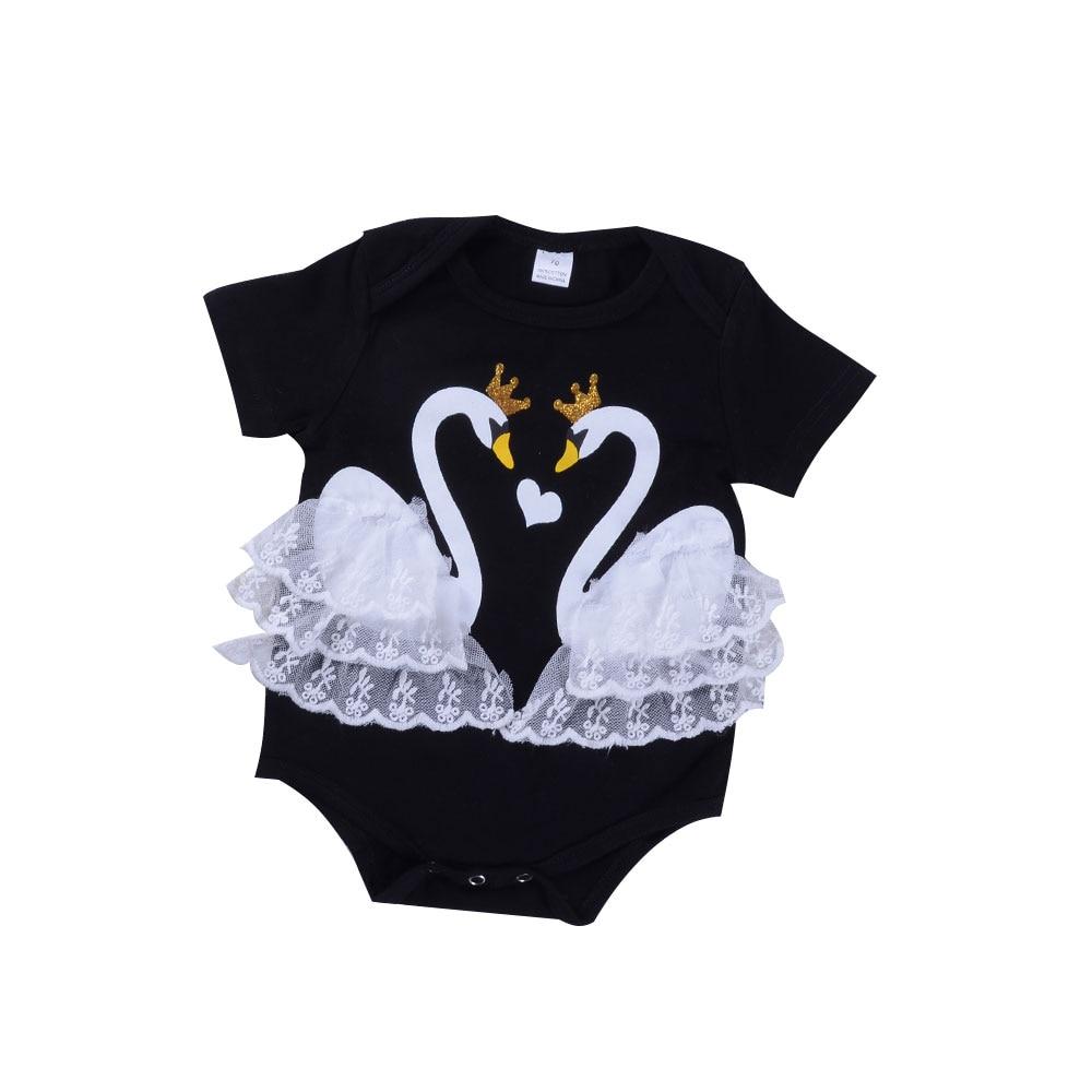 Baby Baby meisjes doek Lace Swan Romper 2 kleuren Cartoon Print - Babykleding - Foto 4