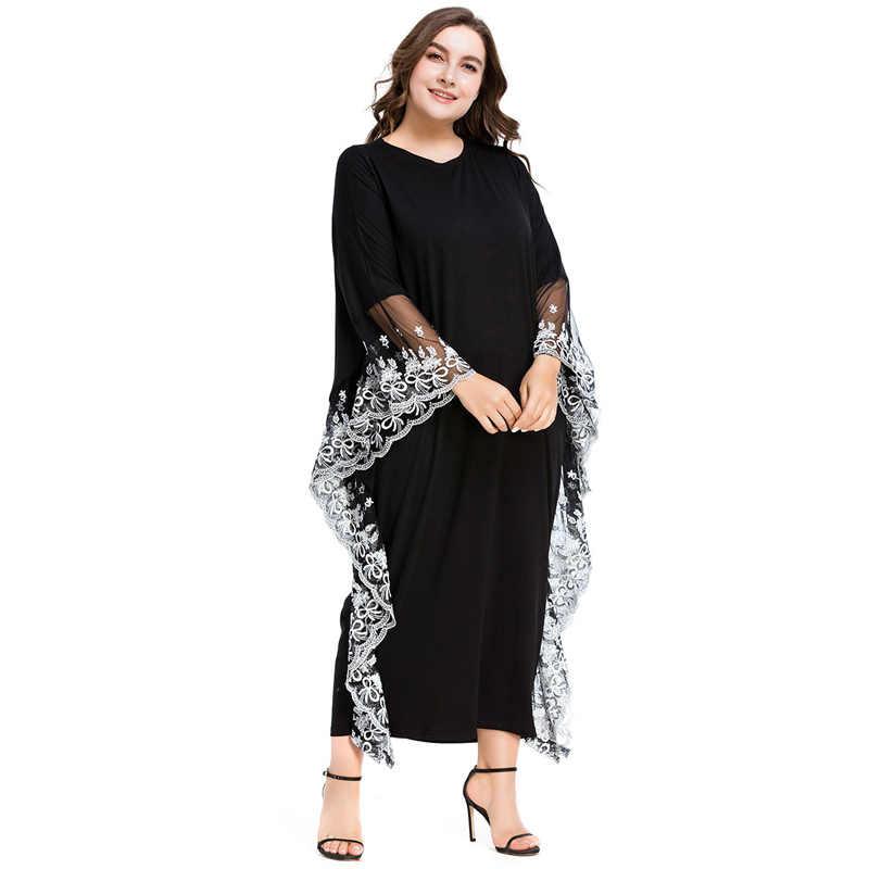2018 кружевные мусульманские платья с широкими манжетами черные халаты с рукавами «летучая мышь» Свободный Длинный Кардиган большого размера длинное платье исламские элегантные вечерние платья в марокканском стиле