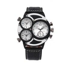 OULM Reloj de Los Hombres Originales de Lujo Dual Time Ejército Militar de Cuarzo Dial Grande Reloj reloj mujer