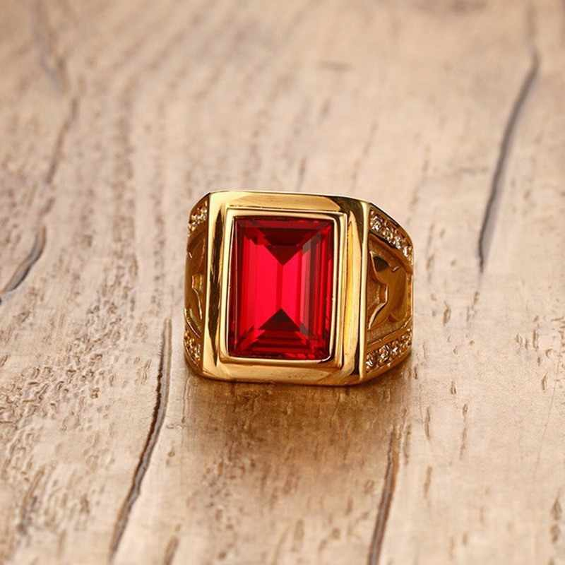 NEWBUY Men's Ring Stainless Steel Big Red Stone Ring Gold Color Party Jewelry Wholesale