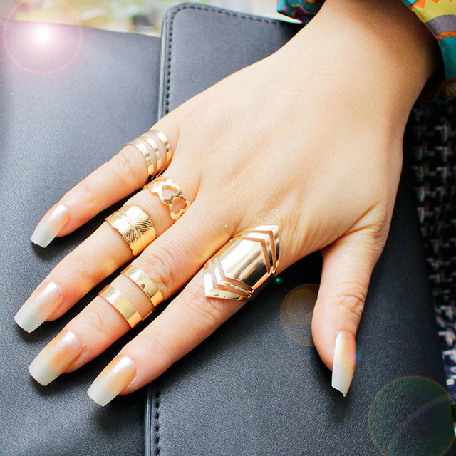 F&U Zinc Alloy Gold Color Ring Set for 5pcs Fashion Girls Gift Jewelry Bijoux Eu
