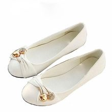 Women's Fashion Shoes Woman Flats Spring Shoes Large Size 4-14 Female Ballet Shoes Metal Round Toe Solid Casual Shoes AA552
