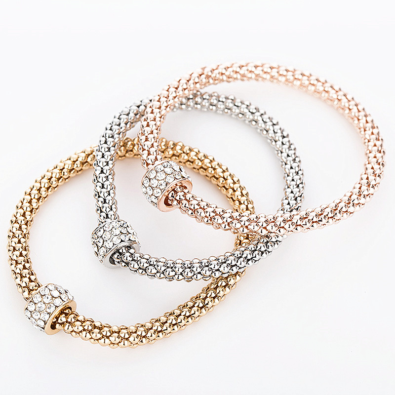 2017 Hot Fashion Snake Chain Bracelets And Bangles Plating Rose Gold Women Marry Party Silver Bracelet In Strand From Jewelry
