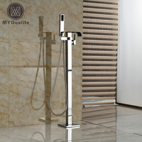 Polished Chrome Single Handle Waterfall Freestanding Tub Sink Faucet with handshower Floor Mounted Bathtub Mixer Faucet