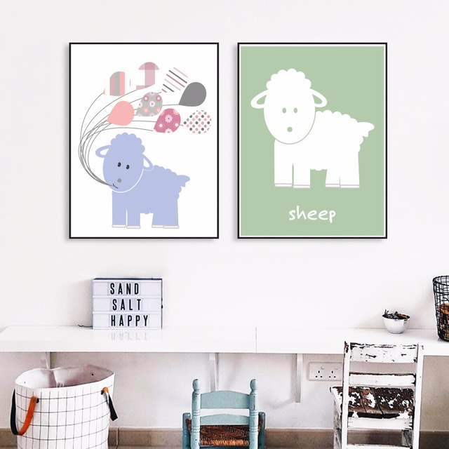 Schafe Cartoon Kinderzimmer Leinwand Kunstdruck Malerei Poster