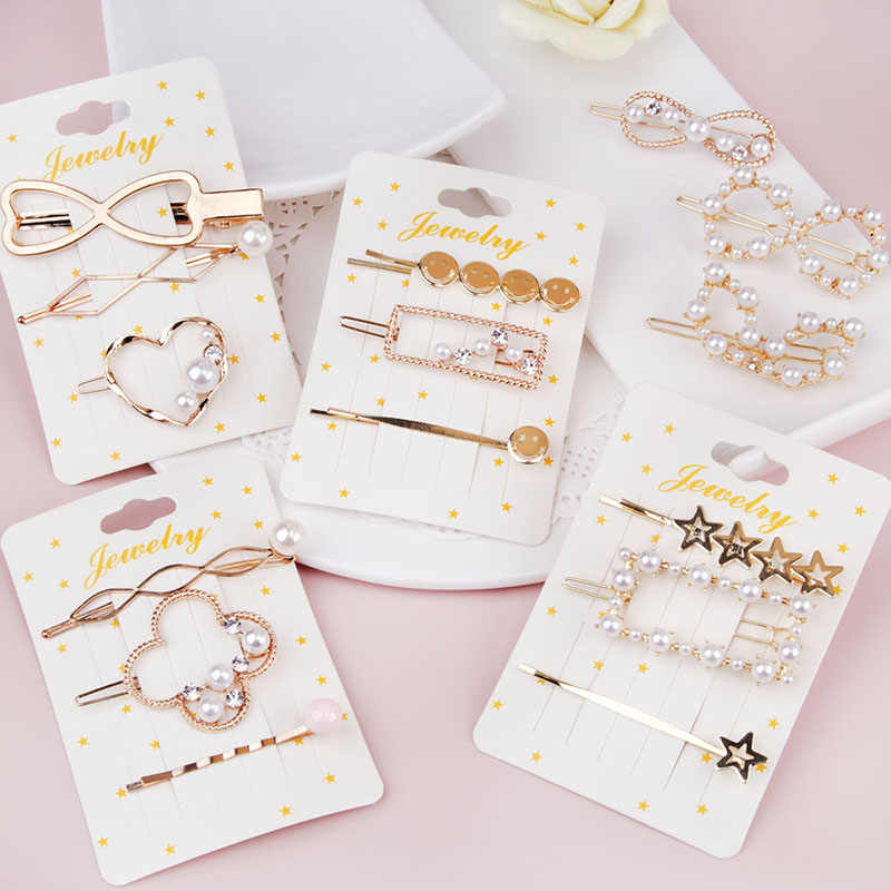 2019 1 SET Girls Hair Accessories Geometric Irregular Gold Color Metal Minimalist Imitiation Women Hair Clips Barrettes Hairgrip