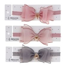 Baby Girls Bowknot Crown Headband Lace Elastic Princess Hair Band Fashion New Style Children Kids Hair Accessories