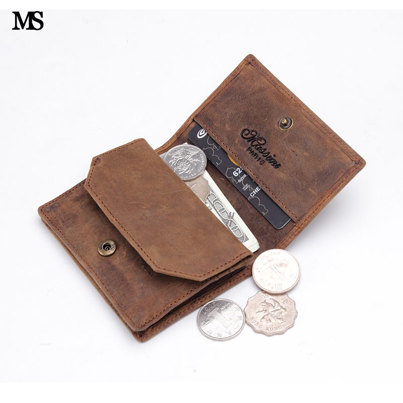MS Lelaki Crazy Genuine Wallet Wallet Business Casual 8-10 Credit Card ID Holder Money Hasp Coin Wallet Holder Wallet Coffee K132