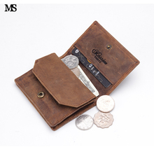 MS Men Crazy Genuine Leather Wallet Business Casual 8-10 Credit Card ID Holder Money Hasp Coin SD Slots Walet K132
