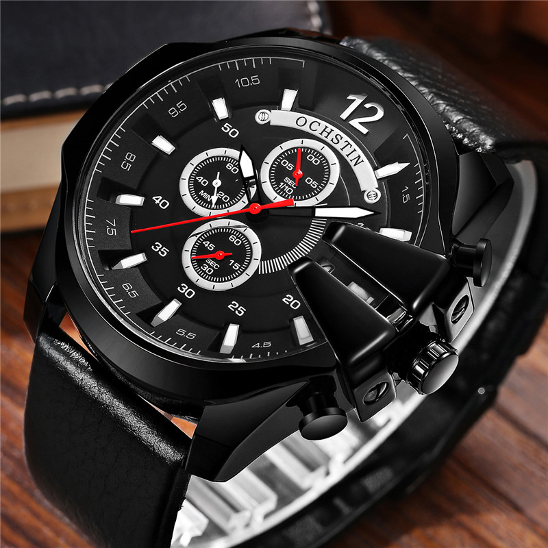 OCHSTIN Mens Watch CHronograph Date Men Watches Leather Band Top Brand Luxury Casual Military Army Sport Quartz Male Clocks 6062 ochstin date chronograph sport top brand luxury mens watches casual quartz wrist men watch military army business male clock 046