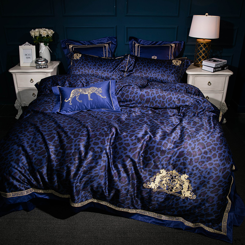 4 6 7Pcs High TC Egypt Cotton Leopard glamour Luxury Bedding Set Embroidery Duvet cover set