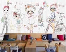 beibehang Classic fashion senior wallpaper hand painted children girl show background wall papel de parede 3d