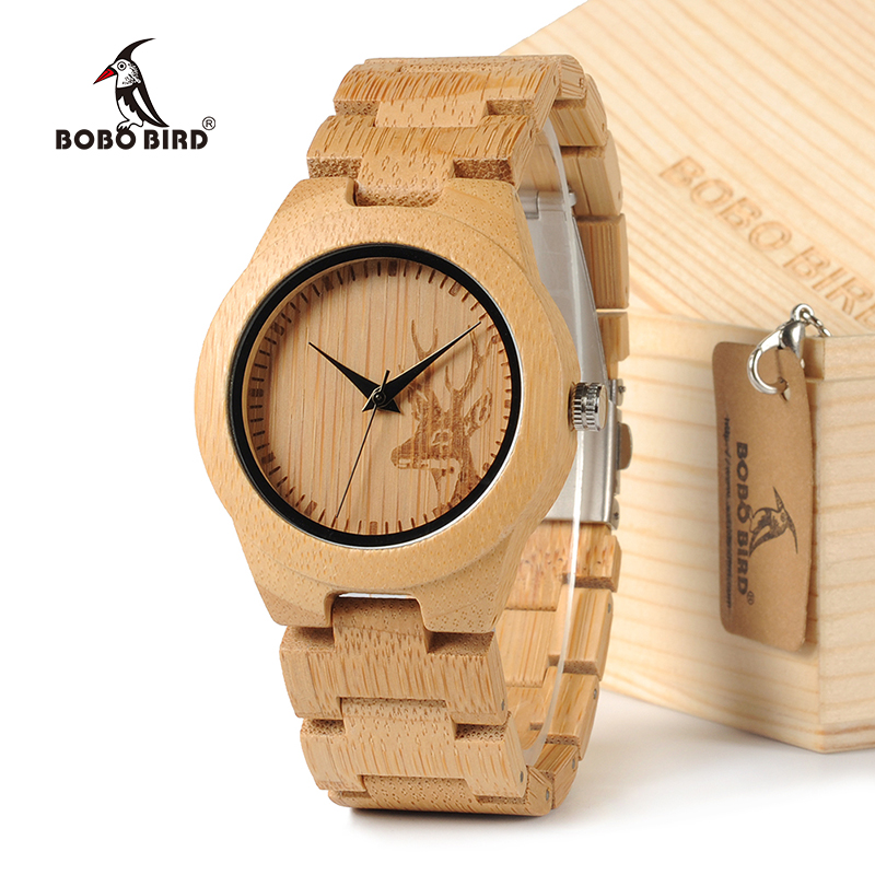 BOBOBIRD E04 Classic Deer Icon Women Watches All Bamboo Wristwatch for Ladies in Gift box