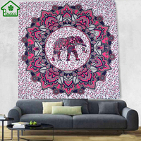 Elephant Bohemian Tapestry Colorful Decorative Mandala Tapestry Indian Boho Hippie Wall Carpet Home Decor Blanket Tablecloth