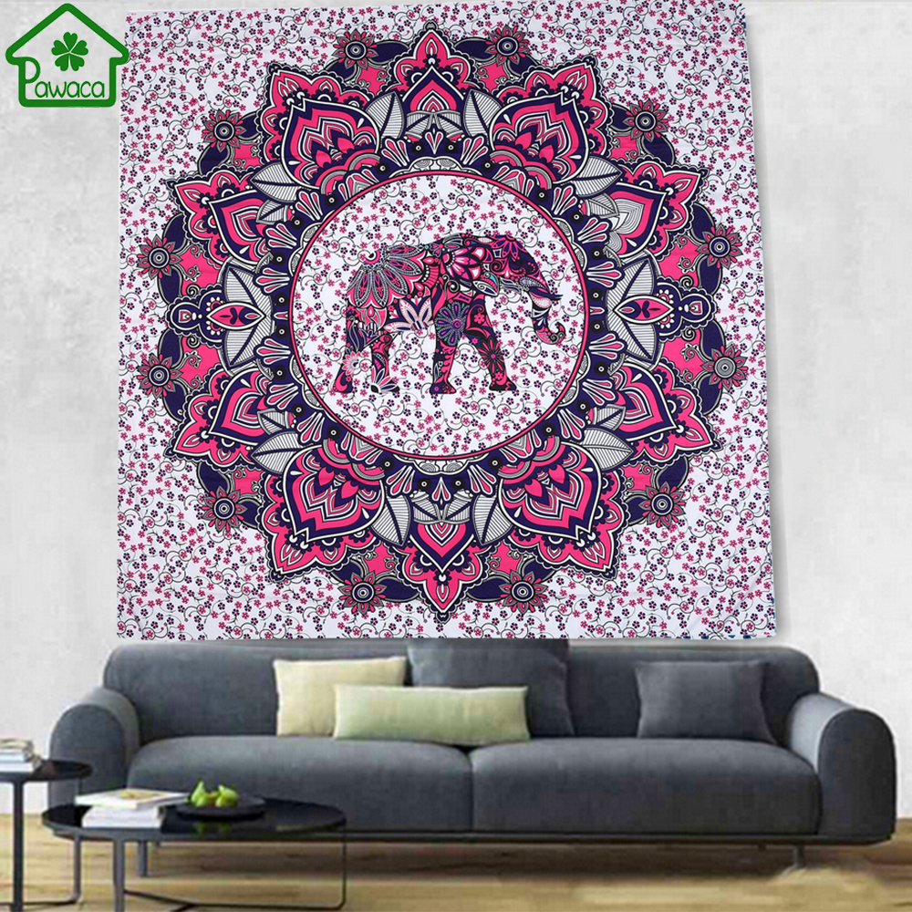 Elephant Bohemian Tapestry Colorful Decorative Mandala Tapestry Indian Boho Hippie Wall Carpet