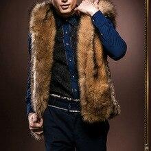 877520085a7d4 Luxury Men Vest 2018 Winter Hooded Faux Fur Vest Men Sleeveless Hairy  Thicken Warm Jacket Outerwear