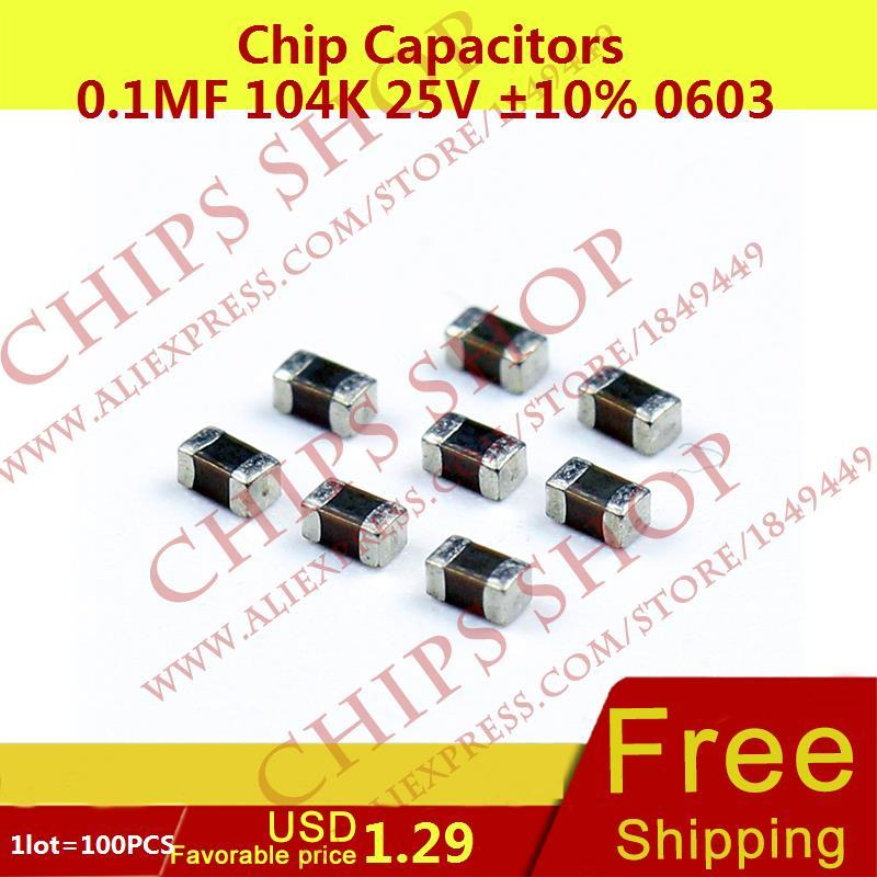 5 x smd capacitor ceramic 100nf 0.1uf 25v 0603 new new