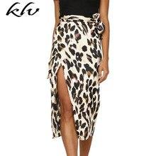 Women Sexy Belted High Waist Midi Long Wrap Skirt Boho Vintage Leopard Print Asymmetric Split Summer Cocktail Party grommet belted waist plaid wrap skirt