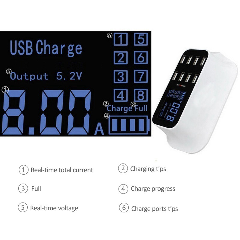 Image 3 - hot 8 Port Portable USB Hub Fast Charger Power Adapter with Smart