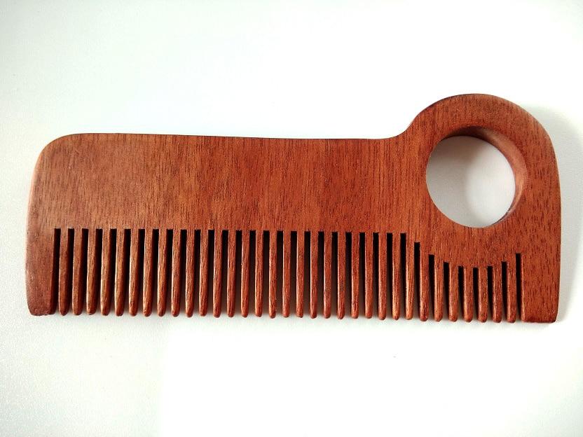 Натуральное дерево гребень ручной работы Красный гребень мелким гребнем борода гребень для волос для Для мужчин борода Средства ухода за м...