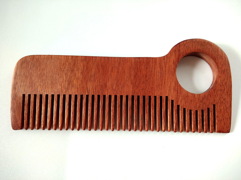 Natural wood comb Handmade Red Comb Fine Tooth Comb Beard Hair Comb For Men Beard Care Engrave Logo