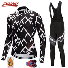 2019 NEW Team FUALRNY winter Thermal Fleece Long sleeve Ropa Ciclismo Cycling Jersey sets Clothing/MTB Bike Clothes White stripe