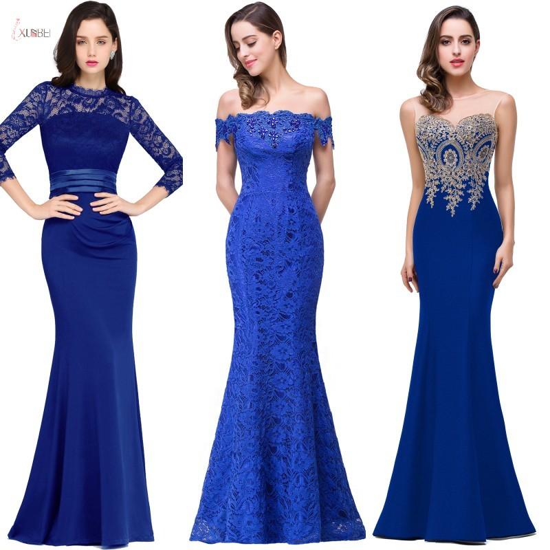 2019 Royal Blue Lace Mermaid Long Bridesmaid Dresses Luxury Applique Wedding Party Gowns Robe Demoiselle D'honneur