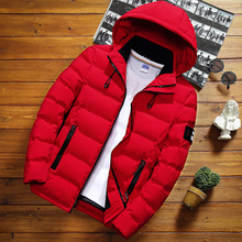 Зимняя мужская однотонная короткая куртка, Модная тонкая теплая хлопковая одежда с капюшоном, большой размер Повседневная Молодежная пуховая куртка S-5XL