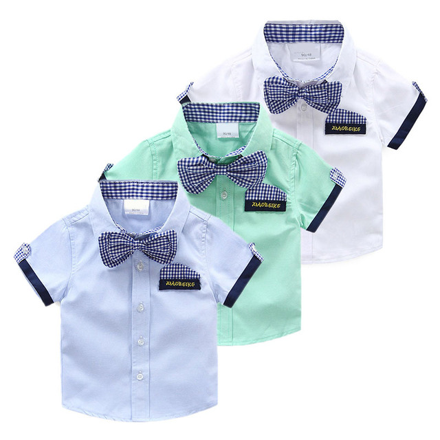d8781a56e3ab Kids Short Sleeve Shirt Boys Summer Shirt With Bow Tie 2017 New Arrival  Children's Clothing Toddler Top 2-3-4-5-6-7Y Baby Shirt