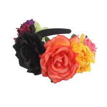 Womens Hawaiian Stretch Rose Flower Floral Crown for Garland Party  Day of The Dead Headband Costume Mexican Headpiece