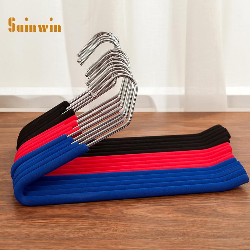 Sainwin 10pcs/lot 34cm Multifunctional clothes rack stainless steel sponge hanger Z-type collodion plastic hangers for clothes