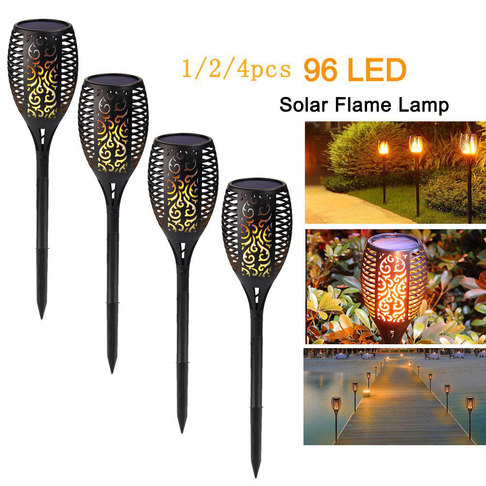 1//2//4PCS 96 LED Solar Flame Flickering Light Outdoor Waterproof Yard Torch Lamp