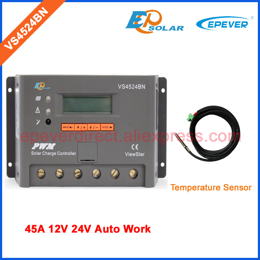 VS4524BN 45A 45amps 12V 24V Auto Work solar charging panels system controller with temperature sensor PWM EPSolar off-grid solar panels boost controller 48v60v72v electric vehicle charging converter 300w