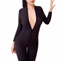 Women Open Crotch Striped Sheer Bodystocking Men Fetish Sexy Bodysuit Double Zipper Catsuit Long Sleeves Body Stocking
