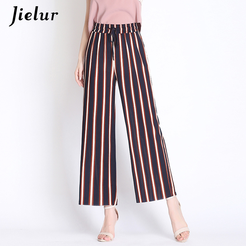 Jielur Women Black   Wide     Leg     Pants   Vintage High Waist Knitted Mujer Trousers Casual OL Striped   Pants   Pantalon Femme 3XL Dropship