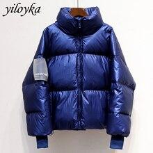 新しい光沢のある防水女性のジャケット2019冬ジャケットの女性のファッション防風暖かいパッド入りダウンパーカー女性のコートの女性