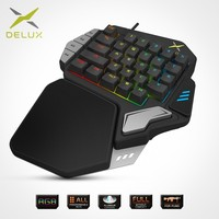 Delux T9X Single handed Mechanical Gaming Keypad fully programmable USB wired keyboards with RGB backlight for PUBG LOL E Sports